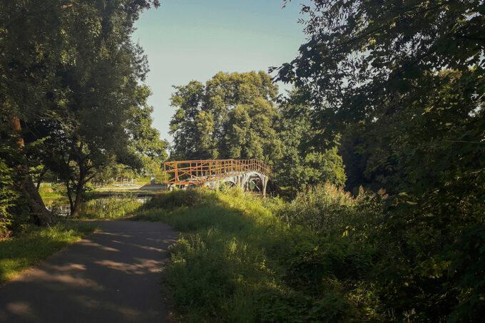 Die Teufelsbrücke über den Finowkanal in Finow, Eberswalde, im schönen Naturpark Barnim, Barnimer Land, Brandenburg.