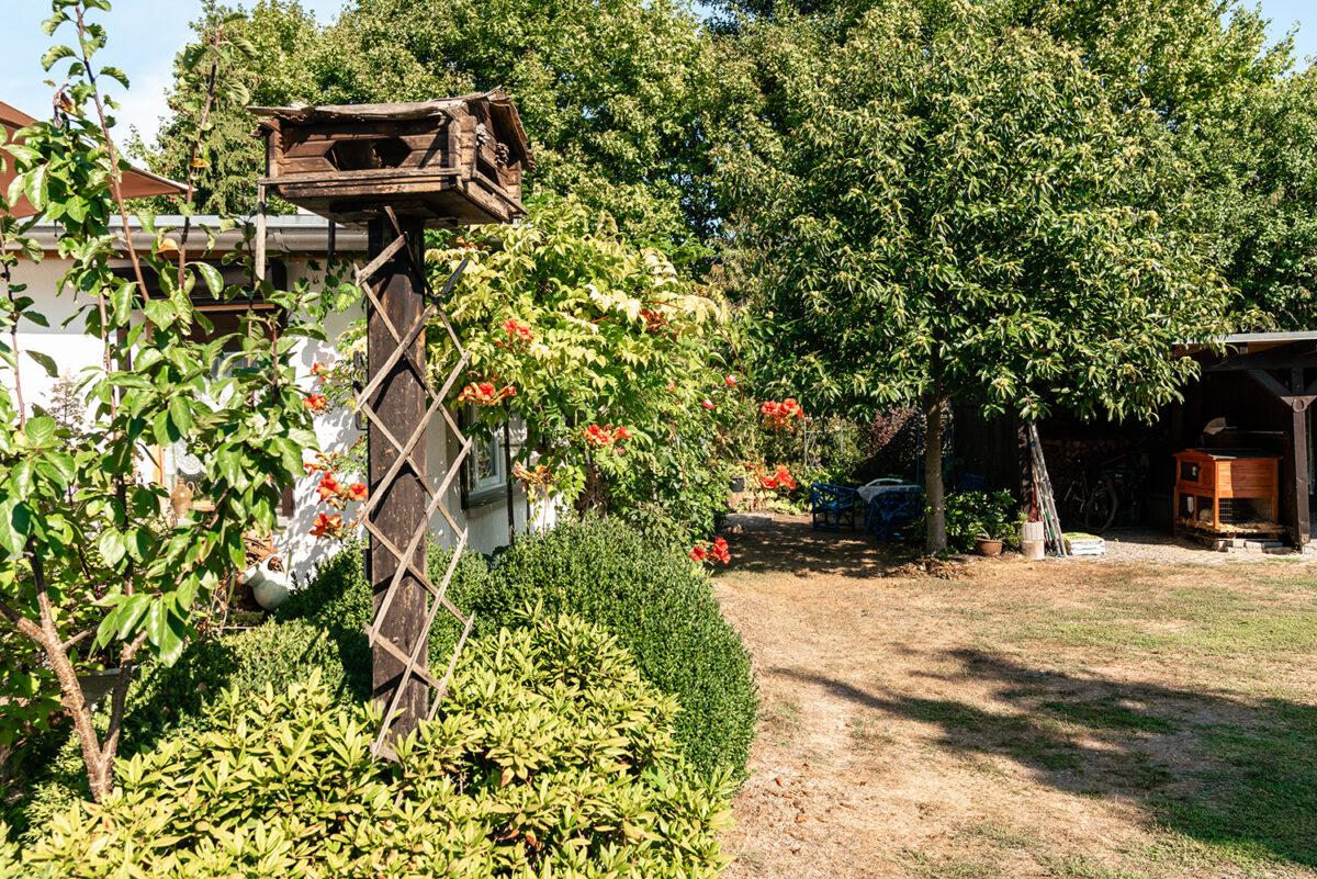 Der Garten der beiden Ferienwohnungen Malzahn in Mühlenbecker Land, Ortsteil Zühlsdorf, im schönen Naturpark Barnim, Barnimer Land, Brandenburg.