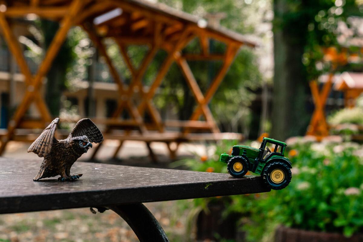 Ein Tisch mit Spielzeug im Außenbereich der Jugendherberge in Wandlitz, im schönen Naturpark Barnim, Barnimer Land, Brandenburg.