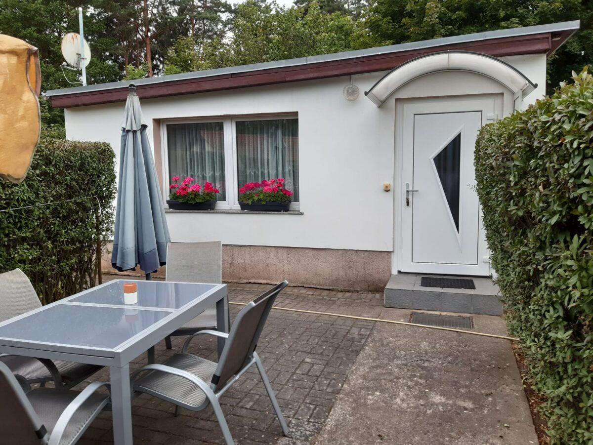 Außenansicht vom Ferienhaus Triemer in Wandlitz, Ortsteil Basdorf, im schönen Naturpark Barnim, Barnimer Land, Brandenburg.